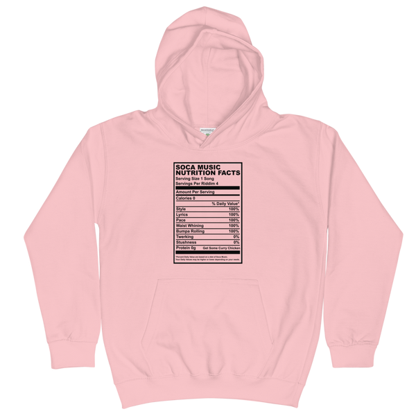 Soca Music Nutrition Facts Kids Hoodie