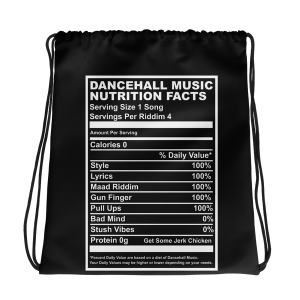 Dancehall Music Nutrition Facts Drawstring bag