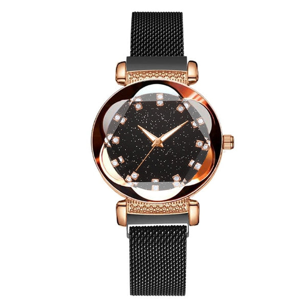 2019 New Luxury Women Watches Fashion Elegant Magnet Buckle Rose Gold Ladies Wristwatch Starry Sky Diamond Gift Quartz Clock