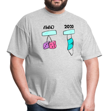 Load image into Gallery viewer, 1980s Dice vs 2020 Mask Tee - heather gray