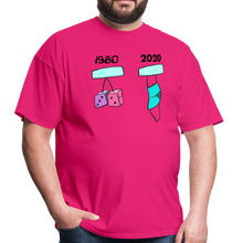 Load image into Gallery viewer, 1980s Dice vs 2020 Mask Tee - fuchsia