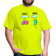 Load image into Gallery viewer, 1980s Dice vs 2020 Mask Tee - safety green