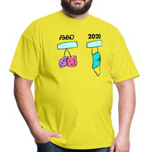 Load image into Gallery viewer, 1980s Dice vs 2020 Mask Tee - yellow