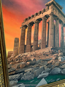 Acropolis Greece at Dusk Original Oil Painting on Canvas