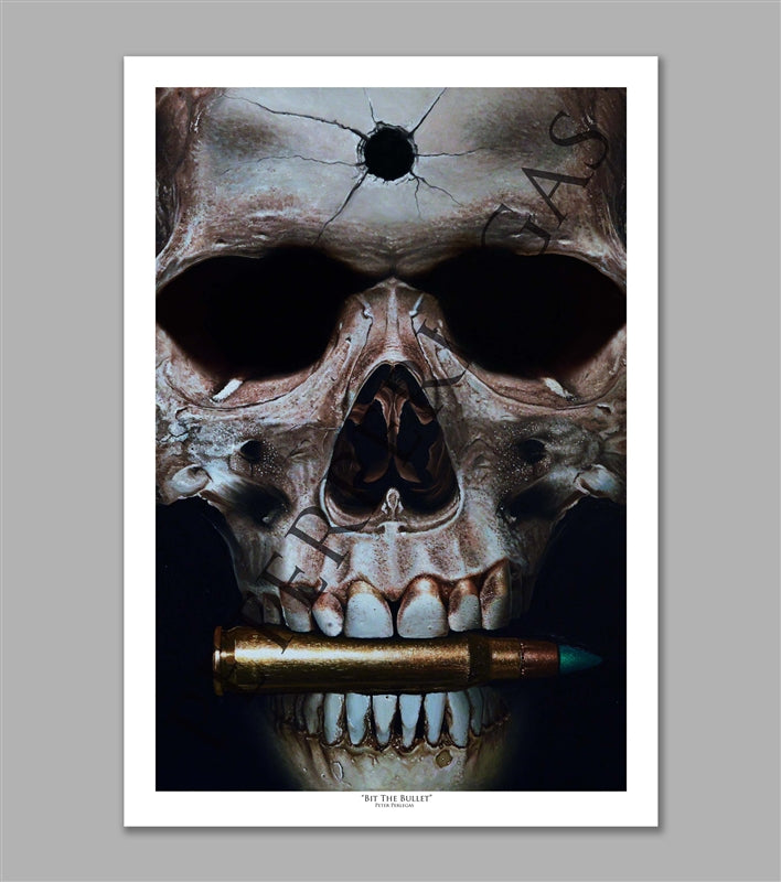 Bit the Bullet Skull Limited Edition Fine Art Paper Print