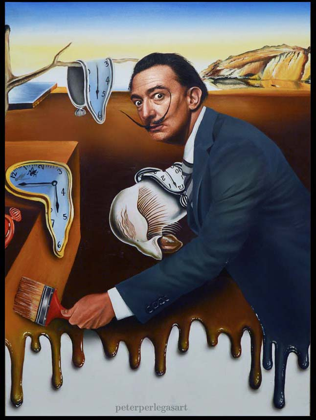 Dali's Melting Self Portrait Original Oil Painting on Canvas Board