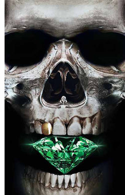 Emerald Skull Original Oil Painting on Canvas
