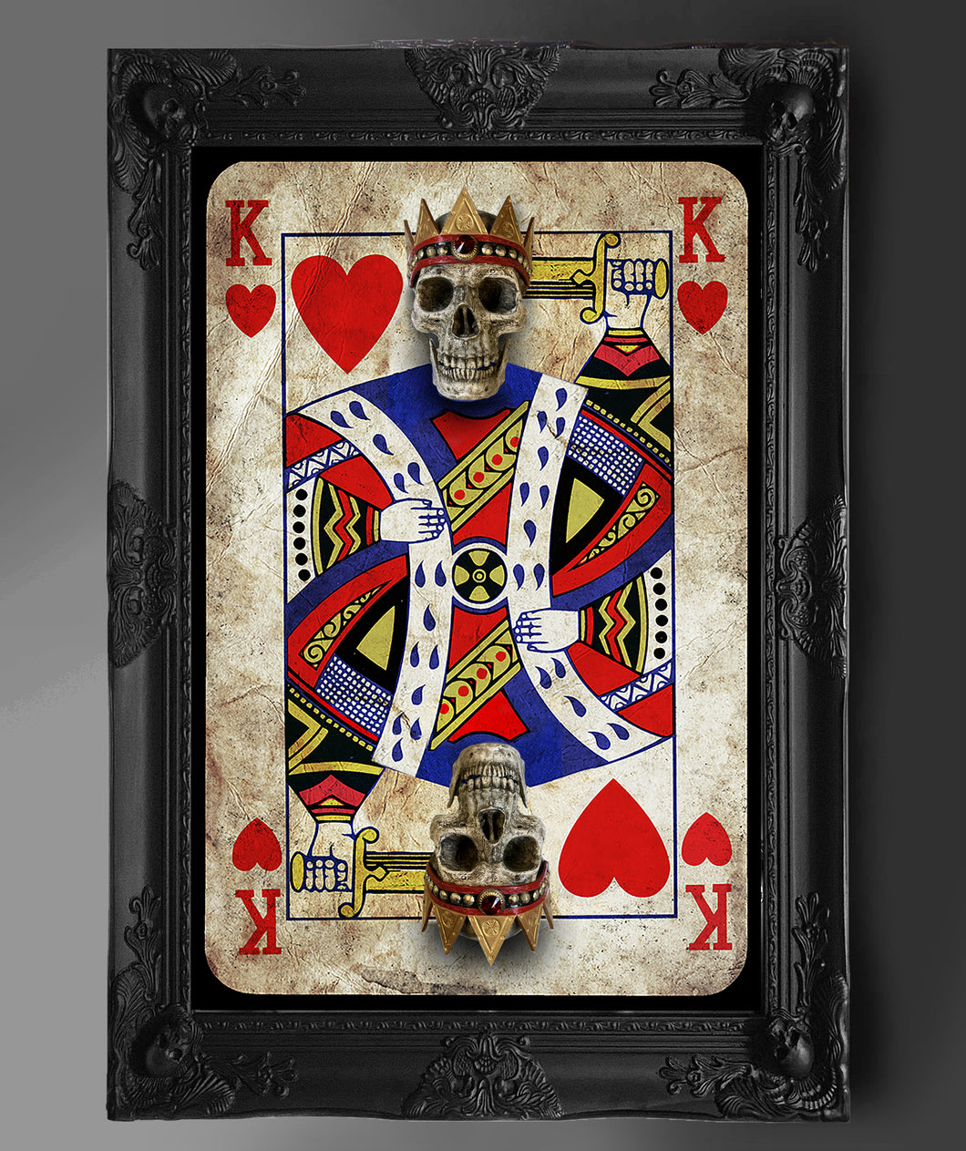 (ONLY 2 SCULPTURES LEFT) Limited Edition King of Hearts Full Card Skullpture #1-5