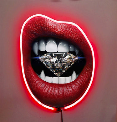 Blood Diamond w/Diamond Dusted Resin and RED NEON LED