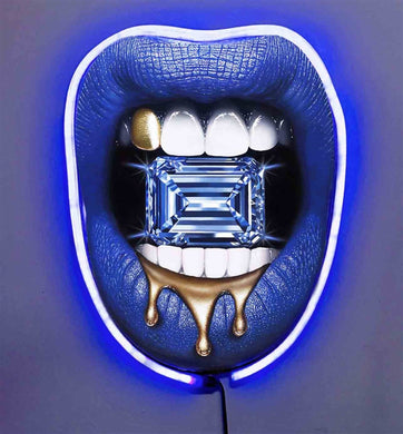Diamond Drip w/Diamond Dusted Resin and BLUE NEON LED