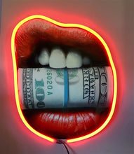 Load image into Gallery viewer, Put Your Money Where Your Mouth Is Diamond Dusted Resin and RED NEON LED