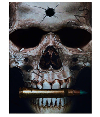 Bit the Bullet Skull Original Oil Painting on Canvas