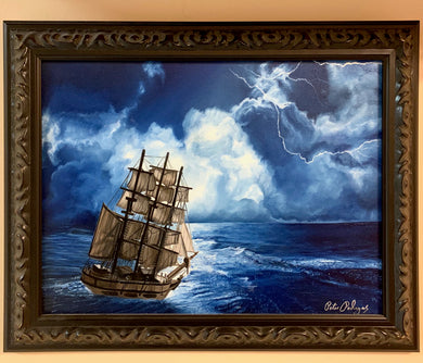 Stormy Sailing Original Oil Painting on Canvas