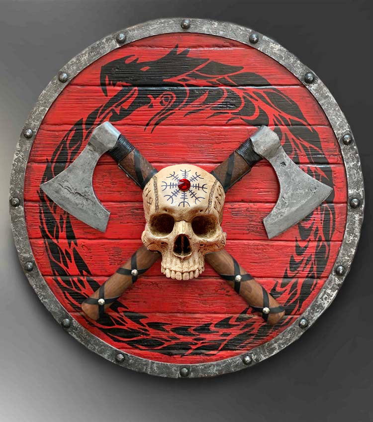 Viking Warrior SKULL on Shield