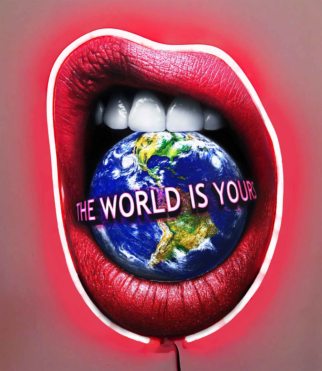 The World Is Yours w/Diamond Dusted Resin and RED NEON LED
