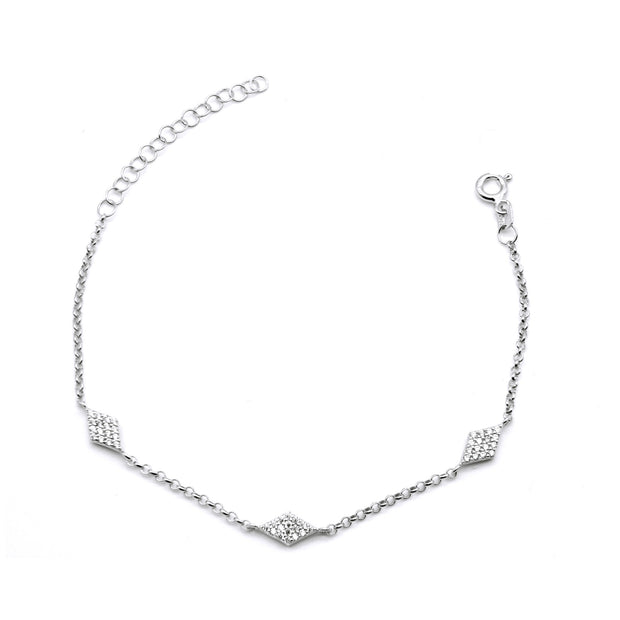 Sparkly Bracelet with Three Rhombus CZ