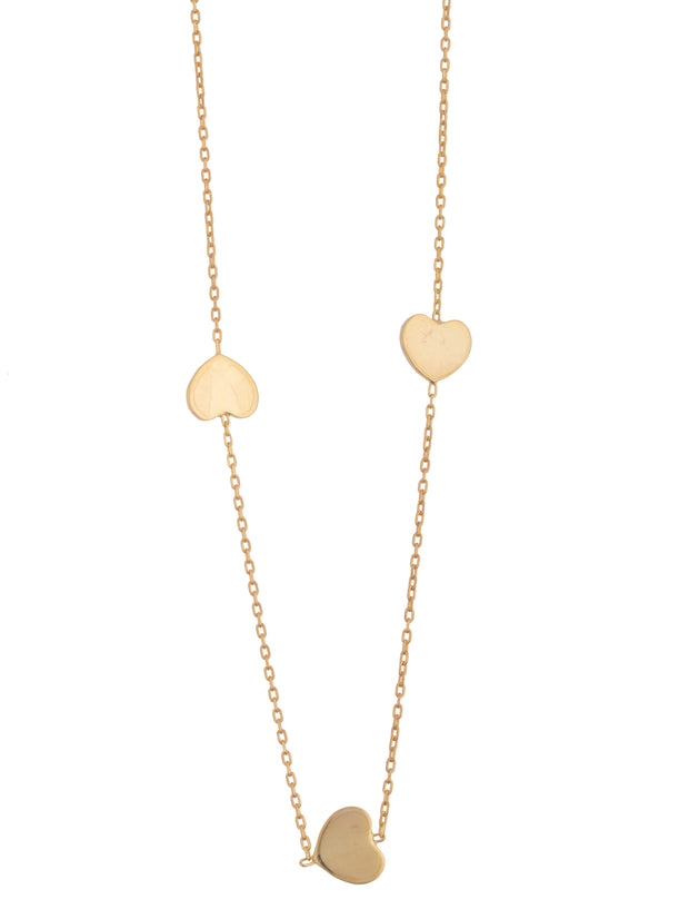 3 Heart Necklace 14k  Solid Gold