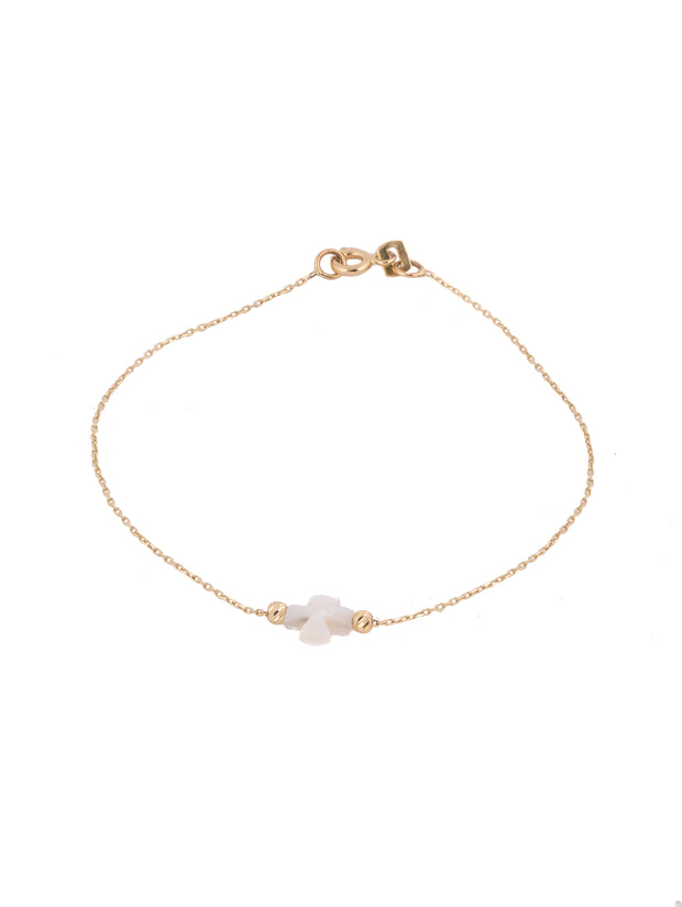14 K Gold Bracelet with a Greek Mother of Pearl Cross