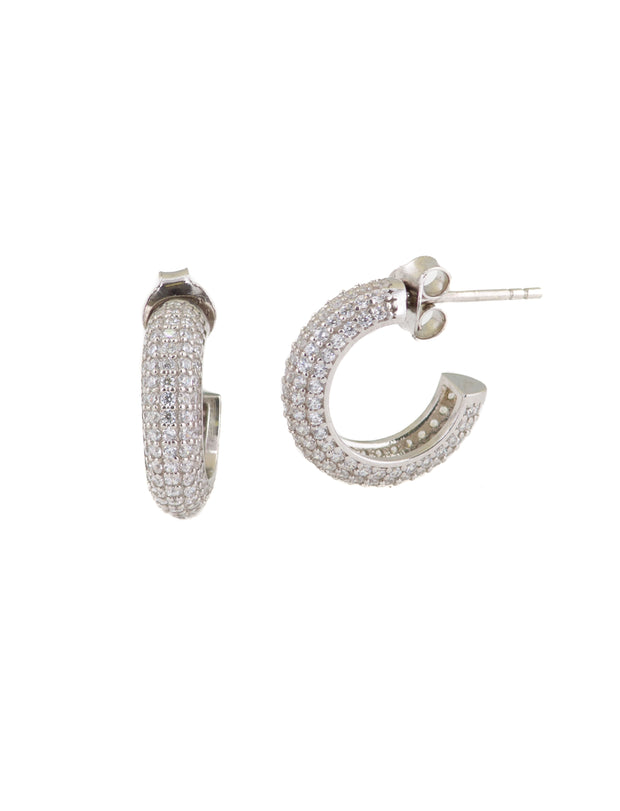 Small Pave Hoops Earrings