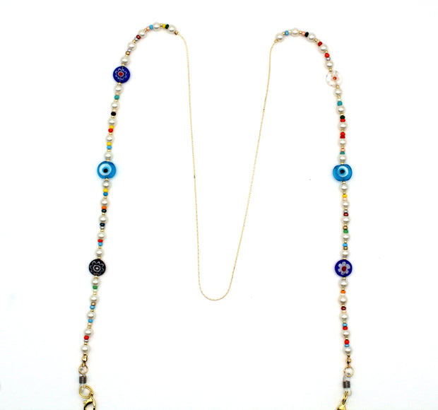 Pearl and Evil eye Sunglasses or Mask Chain