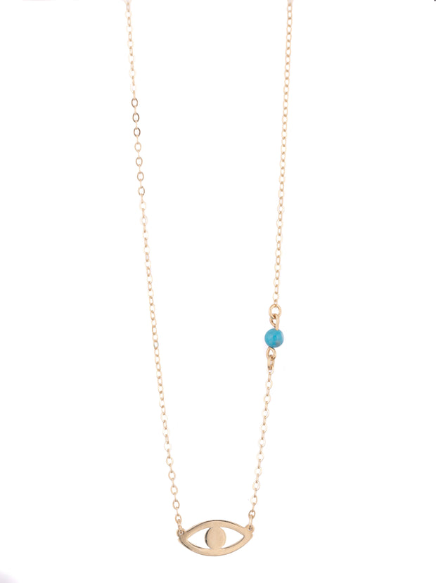 14 K Gold Simple Evil eye Necklace with Turquoise