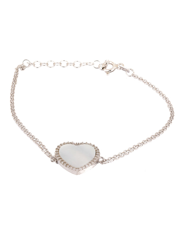 The Mother of Pearl Oversized Heart Bracelet