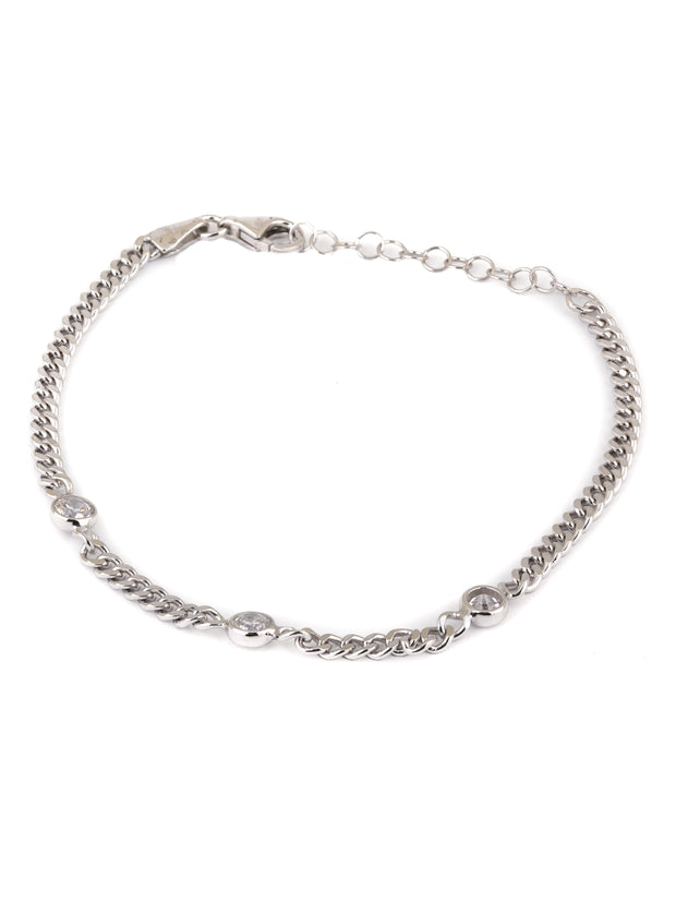 The  Simple Cuban Chain Bracelet with Triple Zirconias