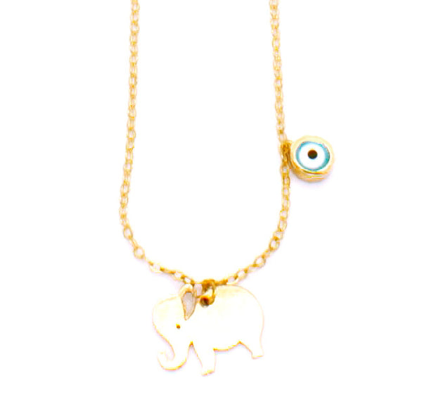 The Elephant Necklace with Evil Eye - 14K GOLD