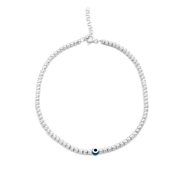 The Diamond Cut Beaded Evil Eye Anklet