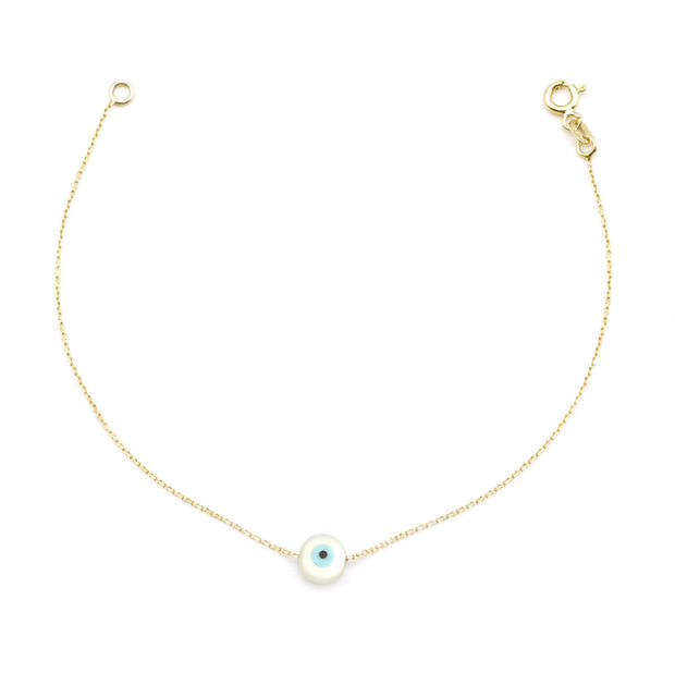 Turquoise and Mother of Pearl Evil Eye Bracelet -14K Gold