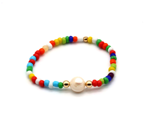 The Single Pearl and Multicolour Bracelet