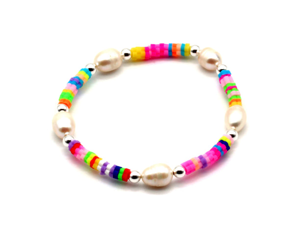 The Multicolour and Pearl Bracelet
