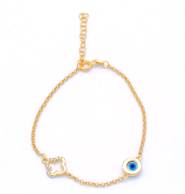 Evil Eye / Clover, Gold Plated Silver Bracelet