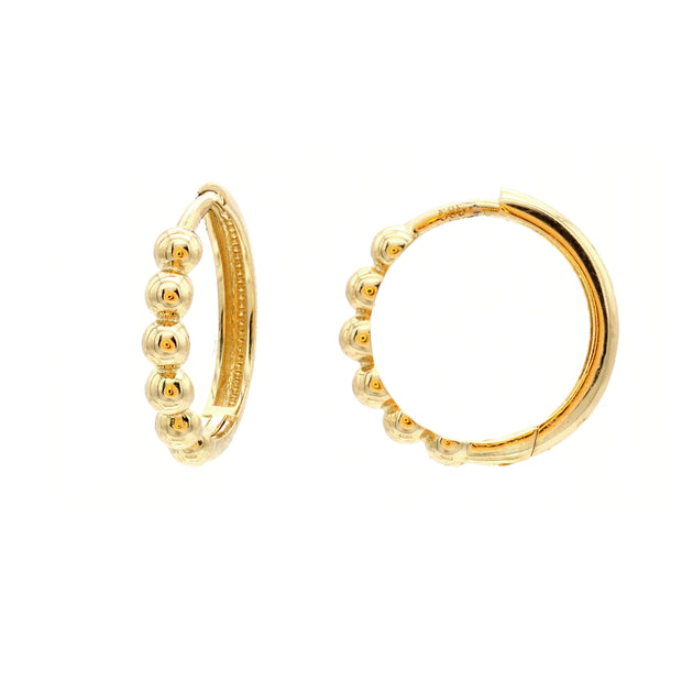 The Mini Beaded Hoops -14K Gold