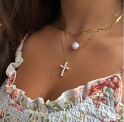 The Pearl Cross Necklace