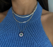 The Big Mati Necklace with Mediterranean Sea  Blue  Color   Zirconias