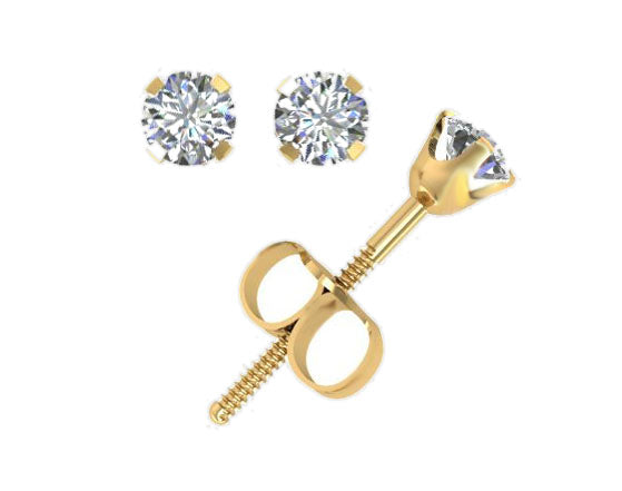 Genuine Yellow Gold and Diamond Stud Earrings -14k Gold