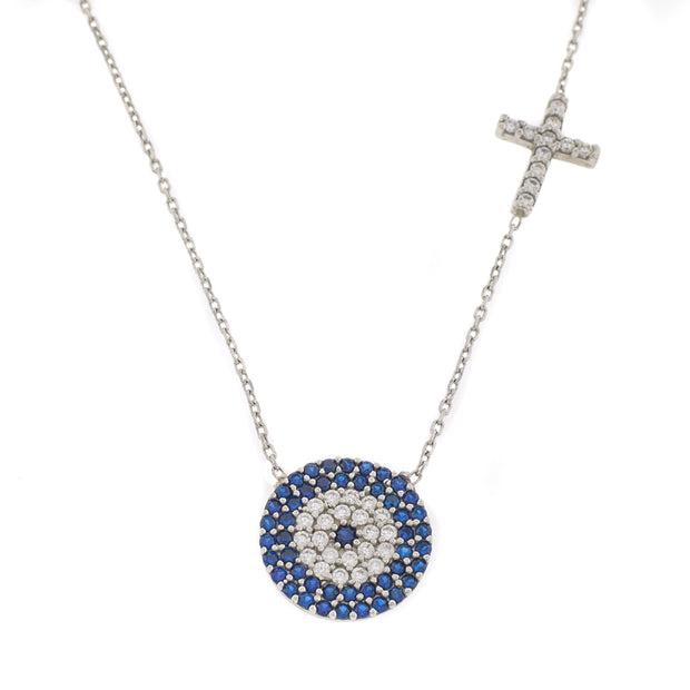 The Large Evil Eye and Cross Necklace