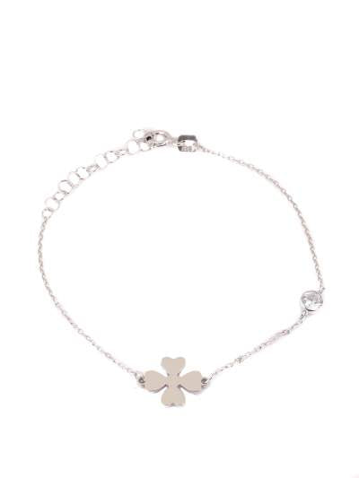 Plain clover leaf bracelet  with bezel setting
