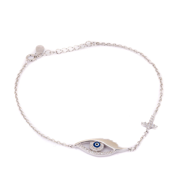 Evil eye with cross bracelet
