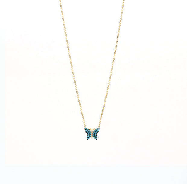 The  Mini Butterfly Necklace with Tourquoise