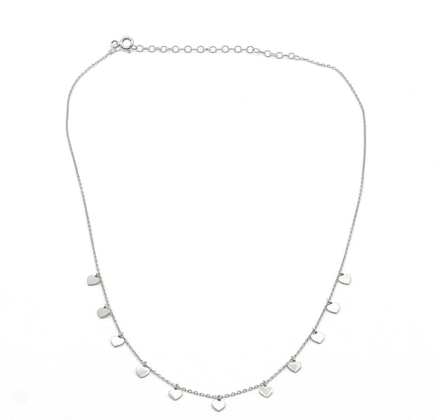 Mini Hearts Charm Silver Necklace