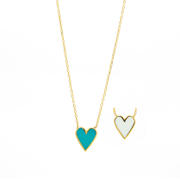 The Double Sided Enamel Heart Necklace