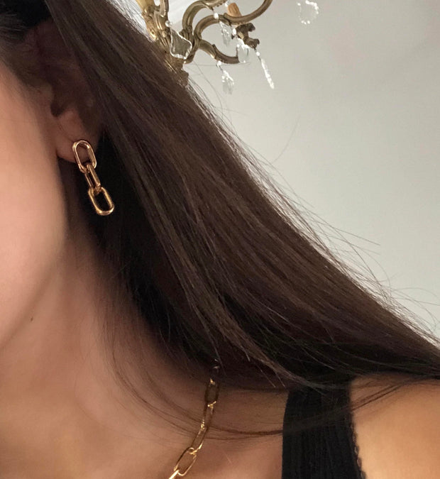 Tho gold filled linked earrings