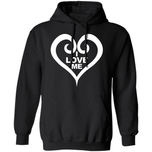 "Cool black sweatshirt in hooded pullover style with shite detailing heart and logo ""I Love Me"""