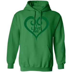 "Green hooded pullover sweatshirt with darker green heart and logo inscribed on front ""I Love Me"""