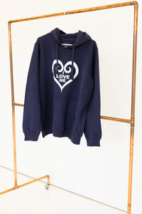 "Dark blue pullover hooded sweatshirt with Cadori ""I Love Me"" logo on front, various sizes available"