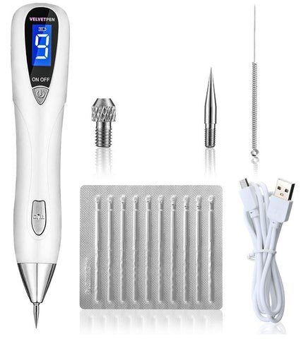 Emphecy Mole Removal Beauty Pen package including a coarse needle, fine needles, needle sleeve and manual guide all for removing moles for better skin care instead of visiting a dermatologist.