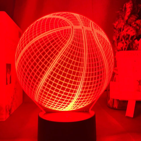 basketball 3D led lamp in red color
