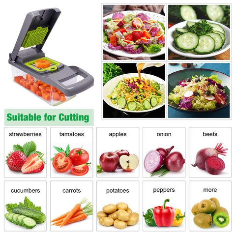 Different functions of the Smart Vegetable Cutter to slice vegetables easily, cut fruits, garlic presser, onion peeler and save cooking time and vegetable preparation.